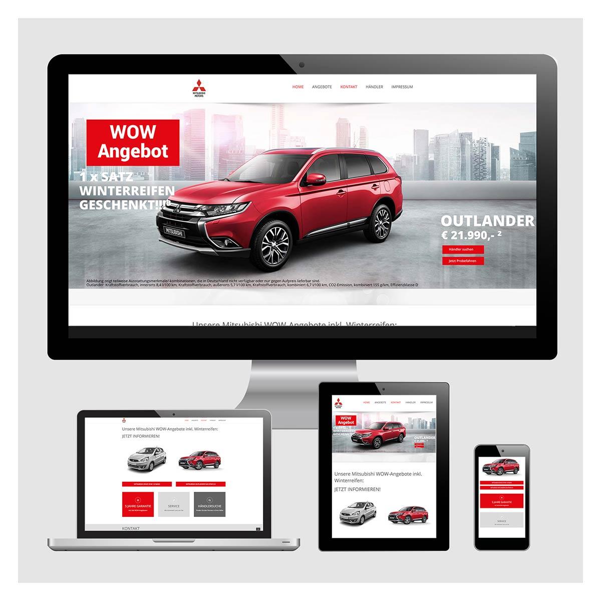 Homepage, Internetseite Mitsubishi Motors Web Banner by Reiber Marketing