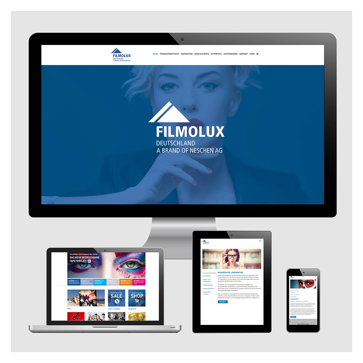 Webauftritt von Filmolux, Homepagegestaltung
